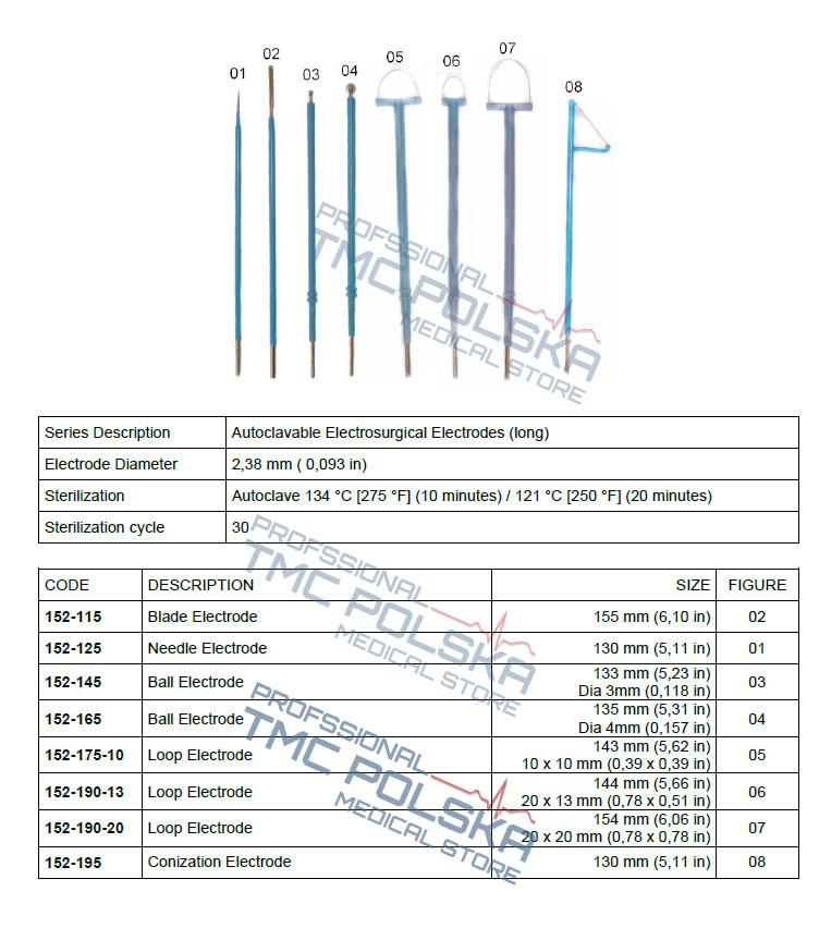 Elektrody autoklawne , długie do diatermii SURTRON- TMC POLSKA