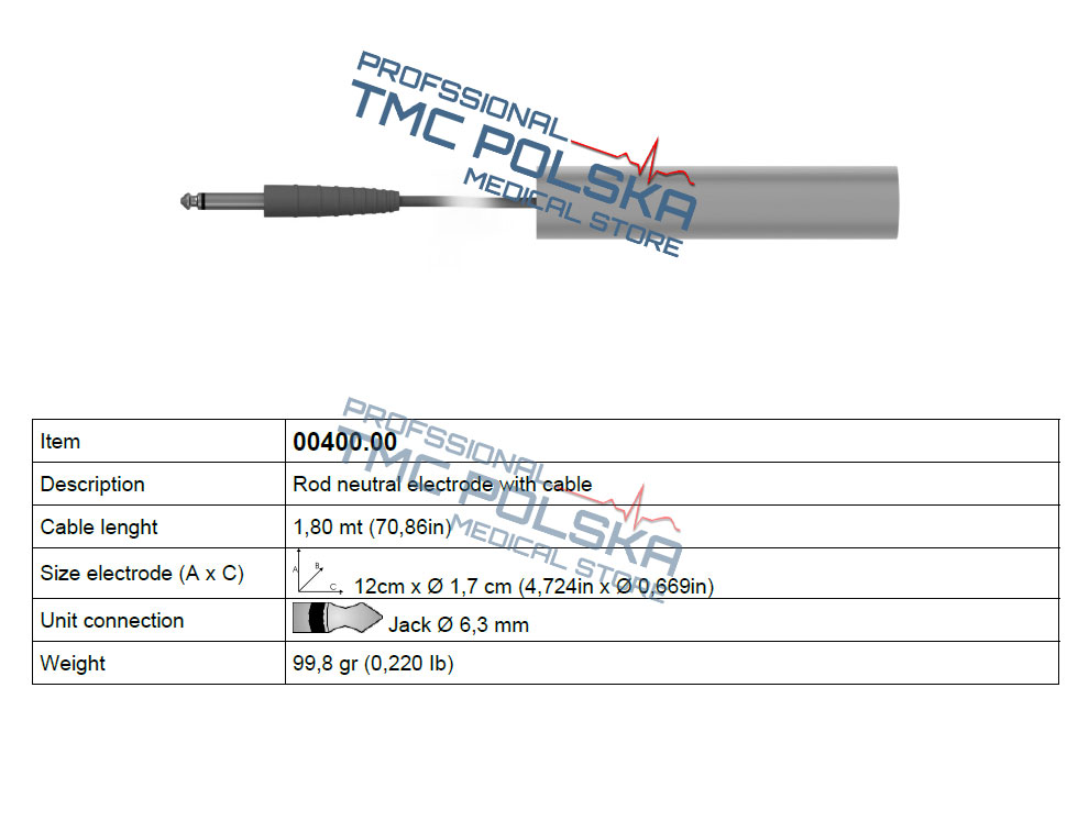 ROD elektroda neutralna - bierna Surtron 50d/80d/80/120/160/FALSH120 - 00403.000 z przewodem 1,8