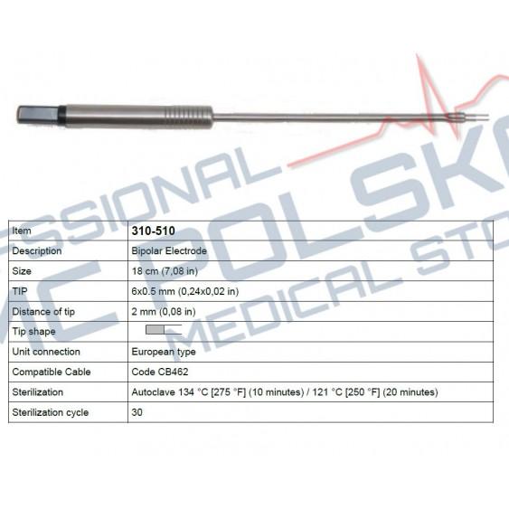 Elektroda laryngologiczna bipolarna  20cm nr 310-510 Diatermia SURTRON