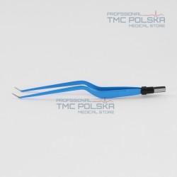 Pęseta bipolarna kątowa zakrzywiona 20cm x 1mm - nr 310-182-10, szczypce bipolarne, pinceta bipolarna kątowa zakrzywiona