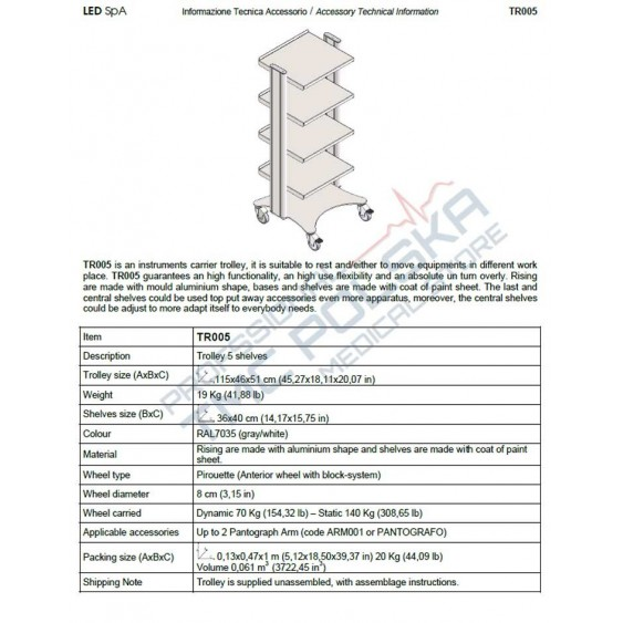 Wózek- stolik medyczny do diatermii  chirurgicznych SURTRON- LED SPA TR003WL