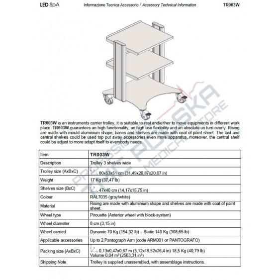 Wózek- stolik medyczny do diatermii  chirurgicznych SURTRON- LED SPA TR004WL