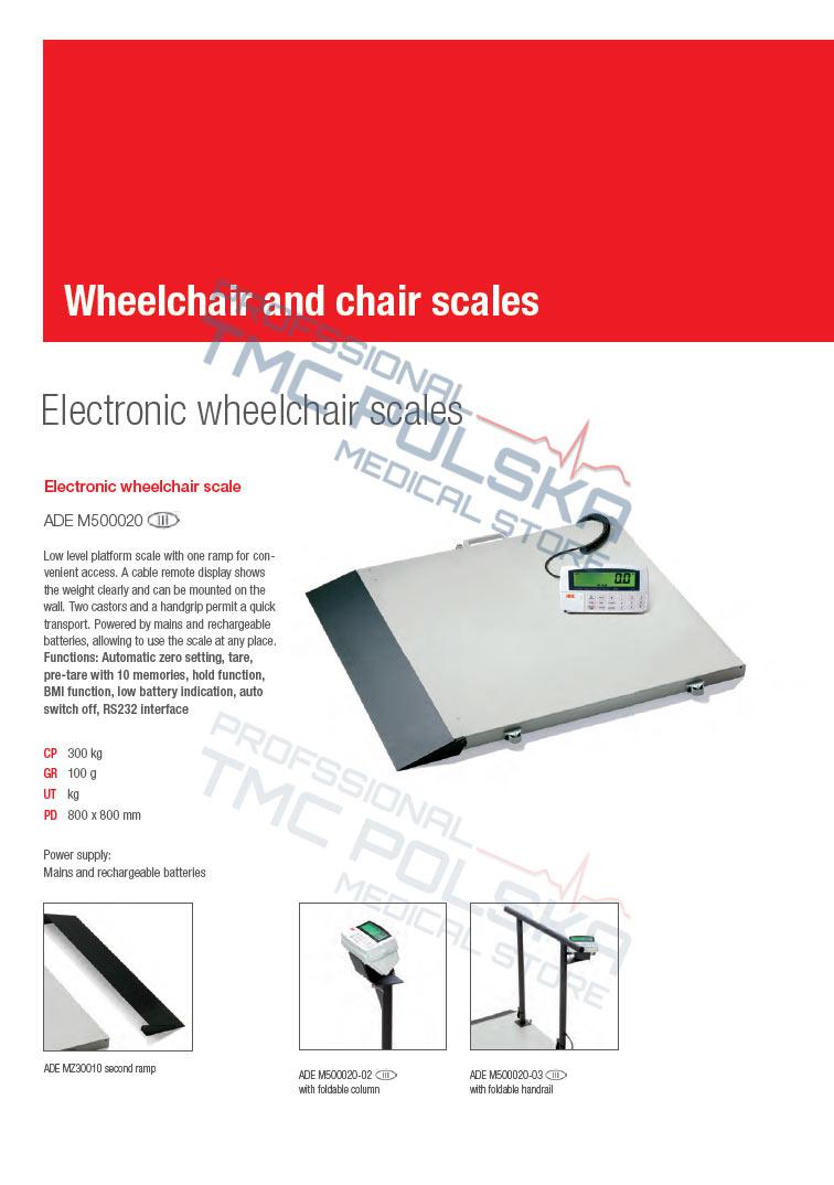 ADE M500020-03 Waga platformowa, elektroniczna waga do wózków inwalidzkich III KL - legalizowana z barierką składaną