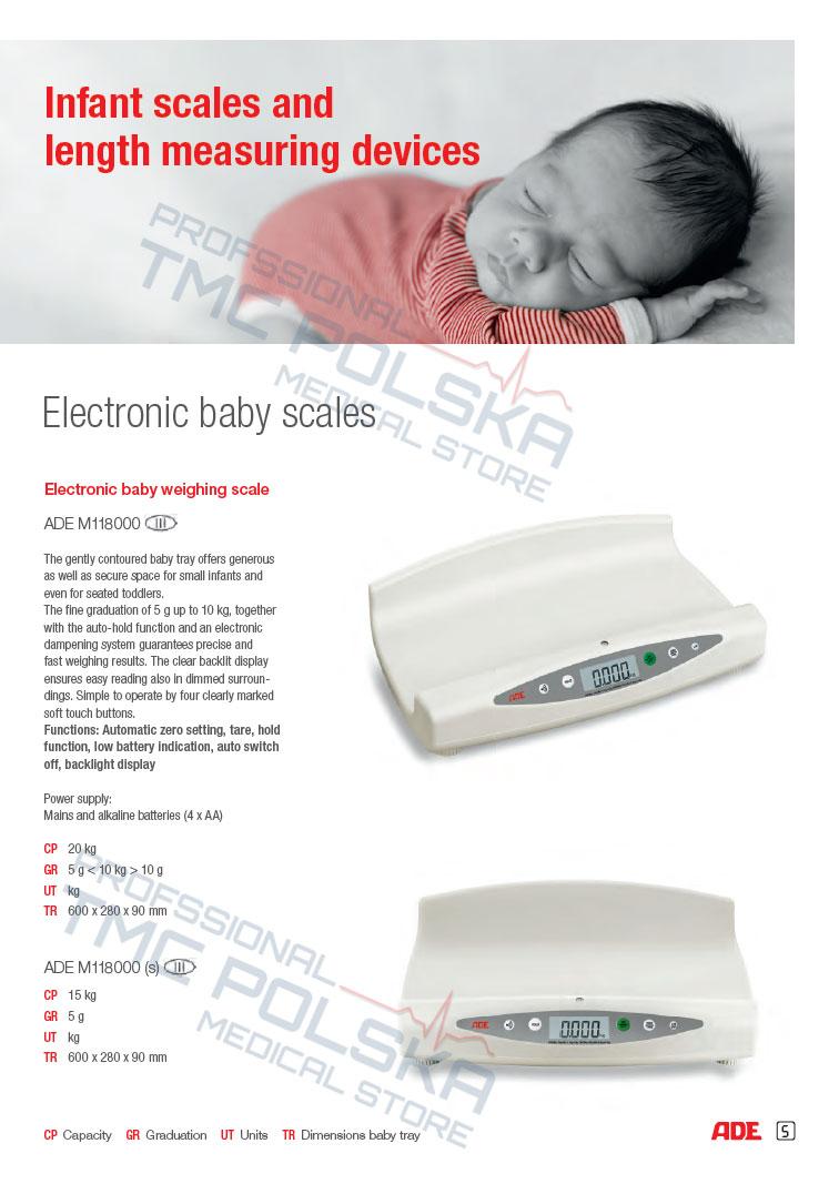 ADE M118000 Waga niemowlęca medyczna do ważenia niemowląt III KL - waga szpitalna, waga medyczna