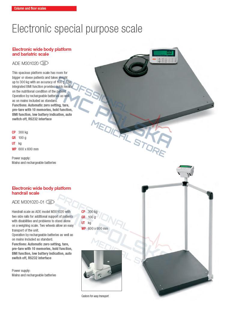 ADE M301020-01 Waga podłogowa elektroniczna III KL-legalizowana- szpitalna, lekarska. Waga bariatyczna z poręczami - wagi szpitalne, wagi bariatyczne