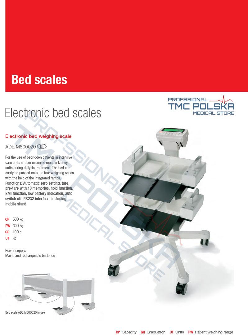 ADE- waga łóżkowa dla szpitali klinik, ADE wagi łóżkowe, wagi wózkowe. TMC MEDICAL STORE