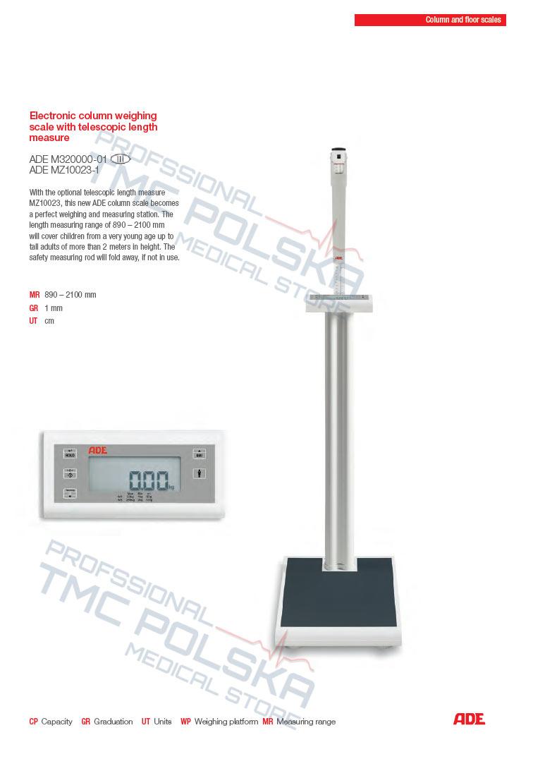 ADE M320000-01 Waga podłogowa kolumnowa elektroniczna ze wzrostomierzem III KL -legalizowana- szpitalna, lekarska