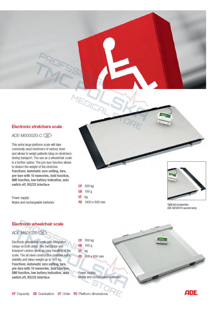 ADE M500020-03 Waga platformowa, elektroniczna waga do wózków inwalidzkich III KL - legalizowana z barierką -wagi szpitalne