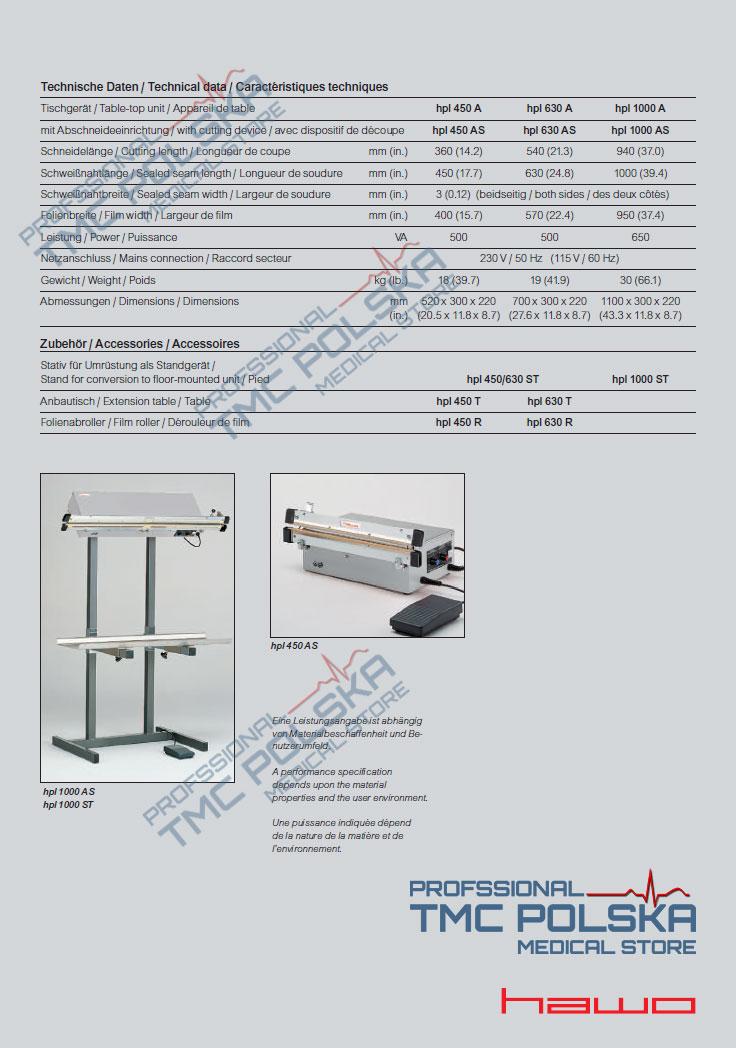 Nożna zgrzewarka impulsowa HAWO HPL 450, 630 i 1000 AS - zgrzewarka szczękowa/impulsowa