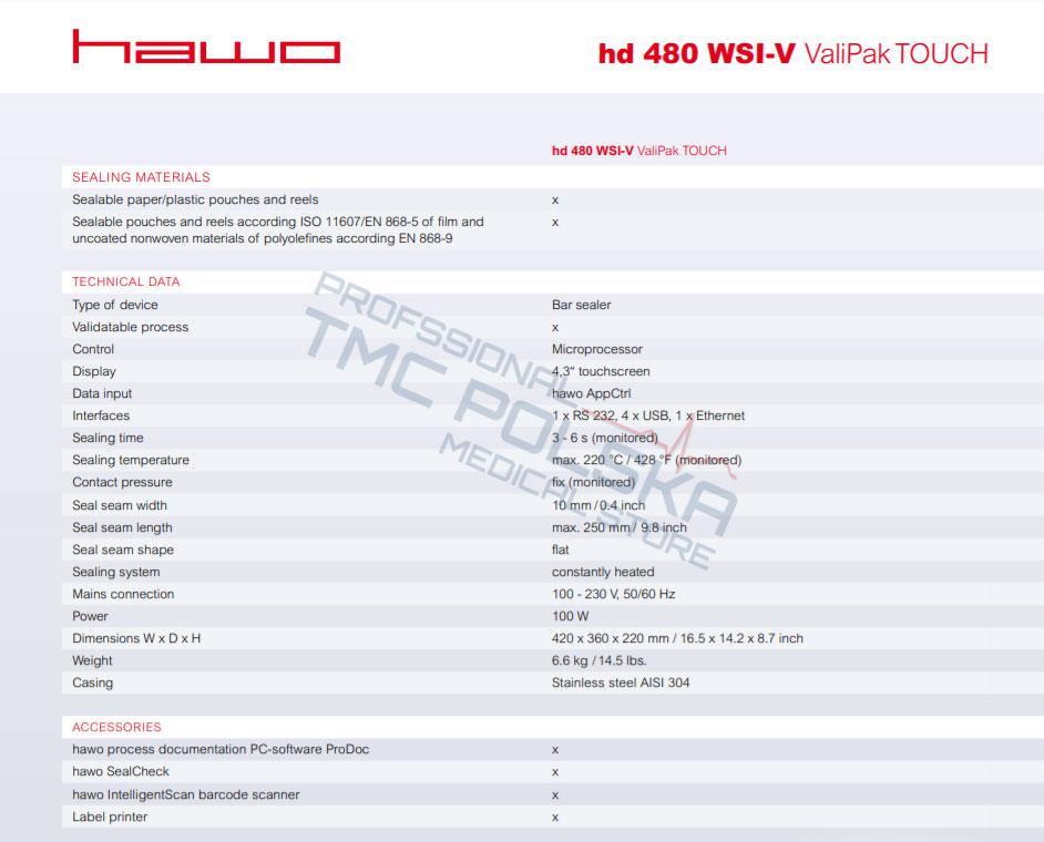 Zgrzewarka HAWO hd480 WSI-V ValiPak TOUCH - zgrzewarka impulsowa